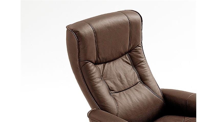 Relaxsessel HAMILTON Sessel Echtleder braun inkl. Hocker
