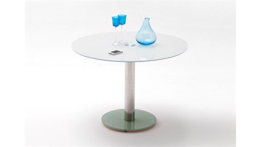 Bistrotisch FALKO Tisch Glas in weiß Chrom 100 Durchmesser