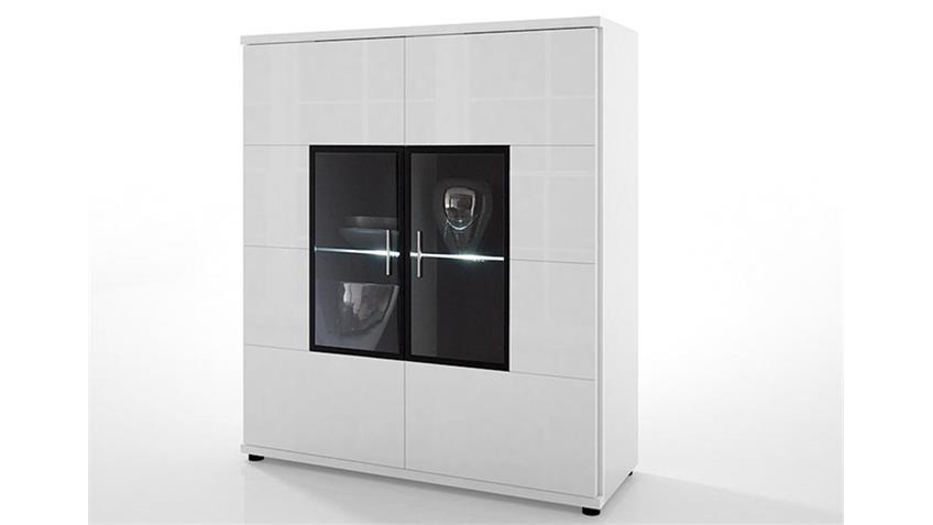 Highboard CORANO 2-türig Wohnzimmerschrank hochglanz weiß