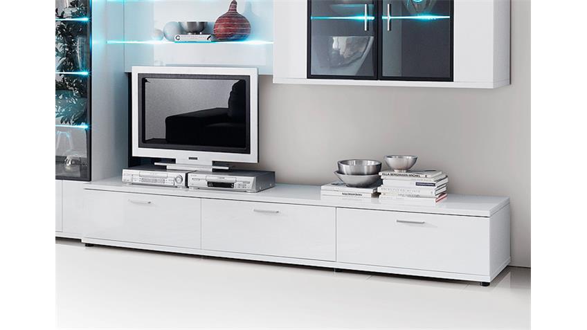 Lowboard CORANO TV Board Wohnzimmermöbel hochglanz weiß
