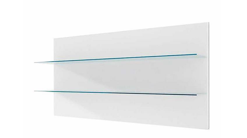 Wandpaneel 120 CORANO weiß Wandregal mit 2 Glasböden