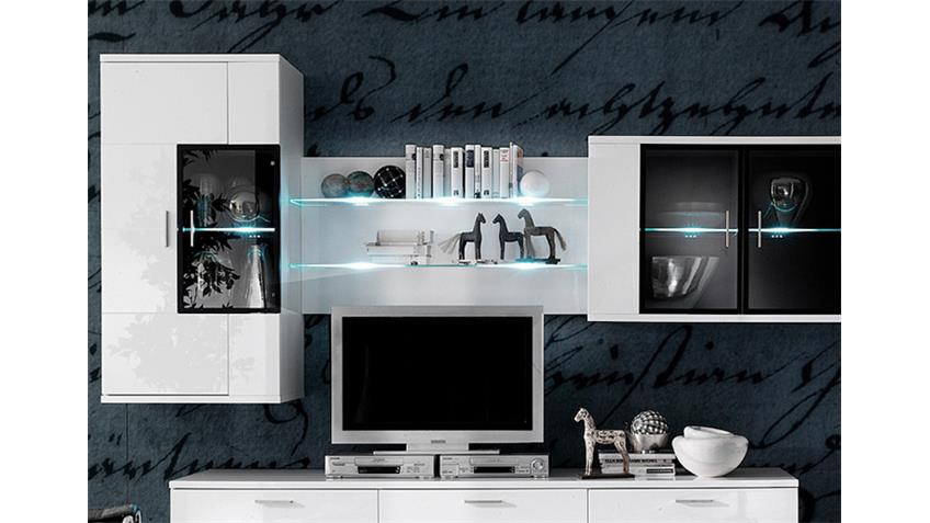 h ngevitrine corano wohnzimmer h ngeschrank hochglanz wei. Black Bedroom Furniture Sets. Home Design Ideas