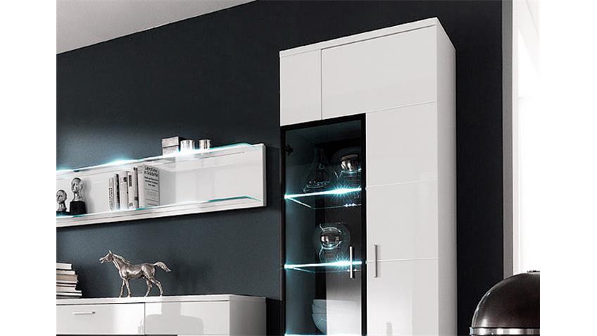 Wohnwand CORANO W04 weiß hochglanz Alurahmen schwarz