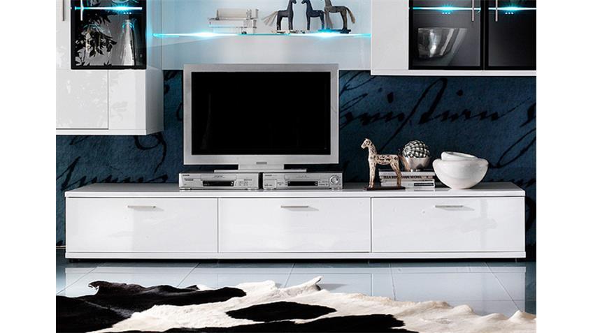Wohnwand CORANO W05 Fronten in weiß hochglanz mit Fronten