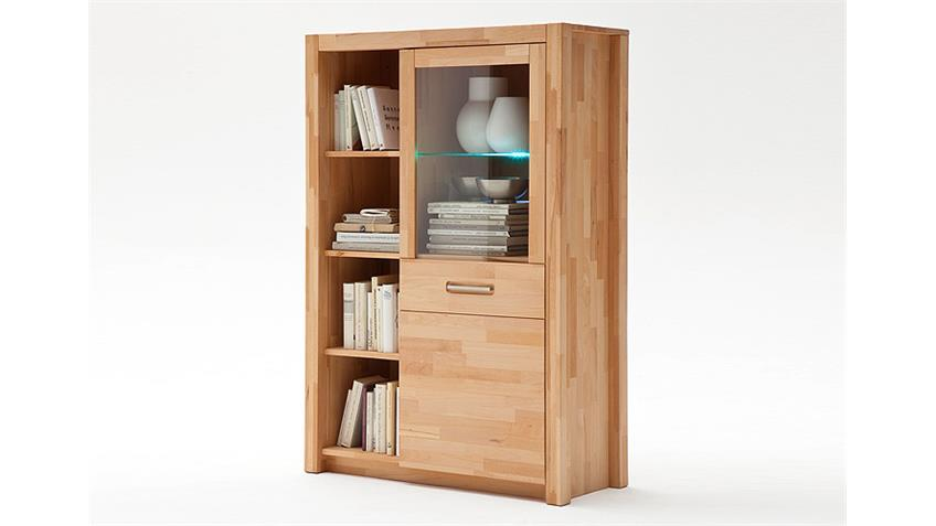 Highboard 2 Fenja Vitrine aus Kernbuche Massivholz inkl. LED