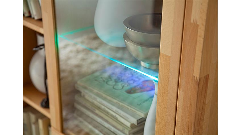 Wohnwand Fenja in massiver Kernbuche keilverzinkt inkl. LED