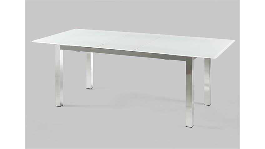 Esstisch BENTO Tisch mit Glas in weiß ausziehbar 160-200