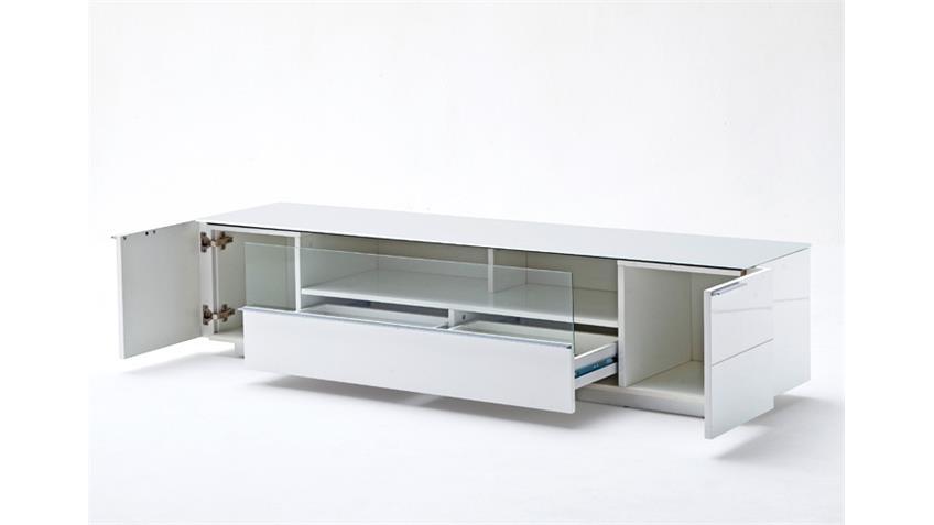 Lowboard 1 CANBERRA weiß Hochglanz lackiert Glasplatte