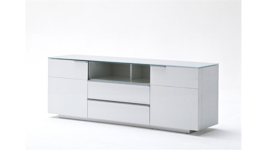 Lowboard 2 CANBERRA weiß Hochglanz lackiert Glasplatte