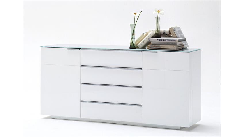 Sideboard 1 CANBERRA weiß Hochglanz lackiert Glasplatte