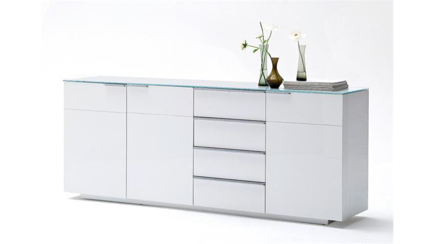 Sideboard 2 CANBERRA weiß Hochglanz lackiert Glasplatte