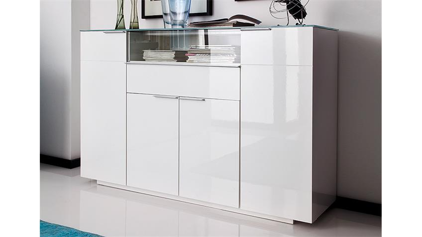 highboard canberra wei hochglanz lackiert glasplatte. Black Bedroom Furniture Sets. Home Design Ideas
