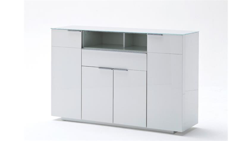 Highboard CANBERRA weiß Hochglanz lackiert Glasplatte