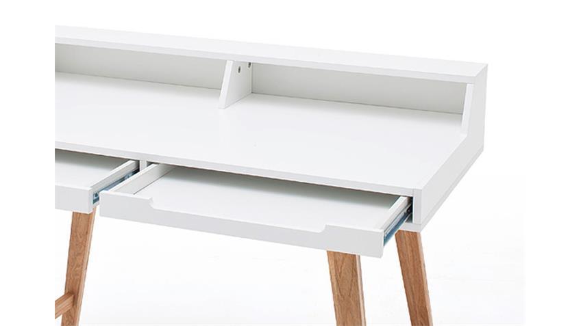 Schreibtisch TIFFY weiß lackiert Buche Massivholz 110 cm