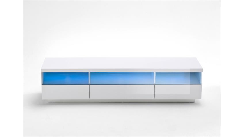 TV Board FLOYD weiß Hochglanz lackiert Glas grau inkl. LED