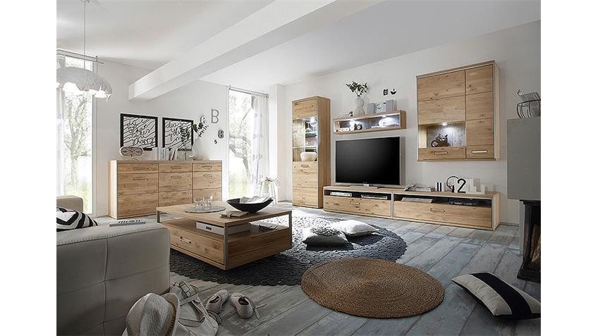 TV-Board ESPERO TV-Unterschrank Ast-Eiche Bianco teilmassiv