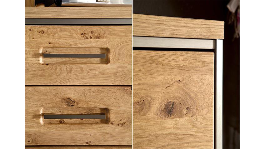 Kommode ESPERO Sideboard Ast-Eiche Bianco teilmassiv 124 cm
