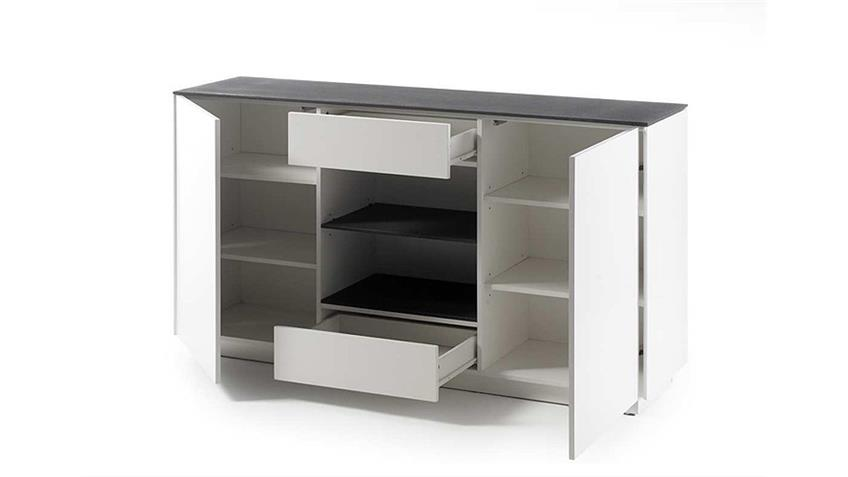 Sideboard 1 DARWIN weiß matt lackiert Glas Steinoptik grau