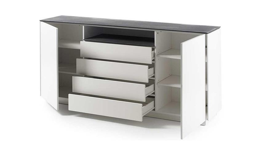 Sideboard 2 DARWIN weiß matt lackiert Glas Steinoptik grau