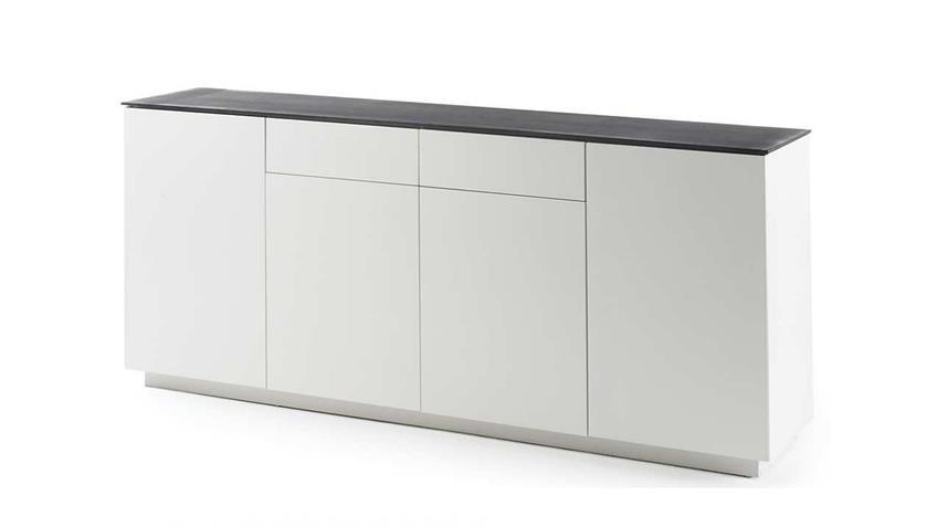 Sideboard 3 DARWIN weiß matt lackiert Glas Steinoptik grau