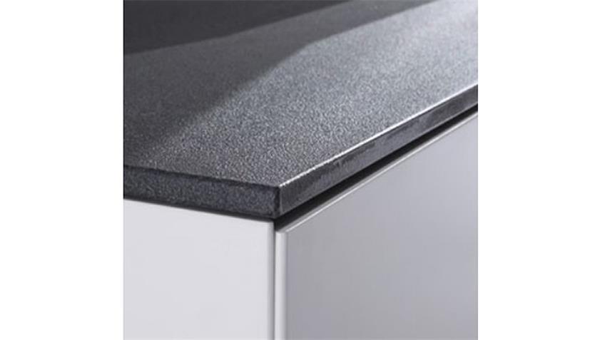 Highboard 2 DARWIN weiß matt lackiert Glas Steinoptik grau