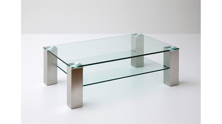 Couchtisch ASTA Klarglas Metall 110x70 cm