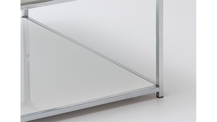 Couchtisch ISA weiß Hochglanz lackiert verchromt 80x80