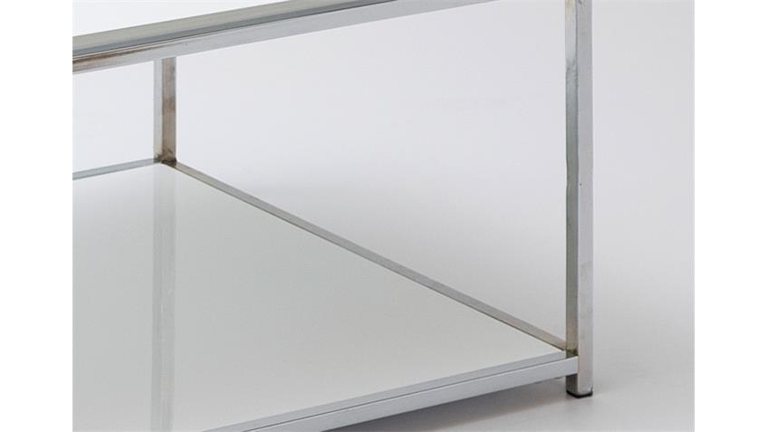 Couchtisch ISA weiß Hochglanz lackiert verchromt 110x60