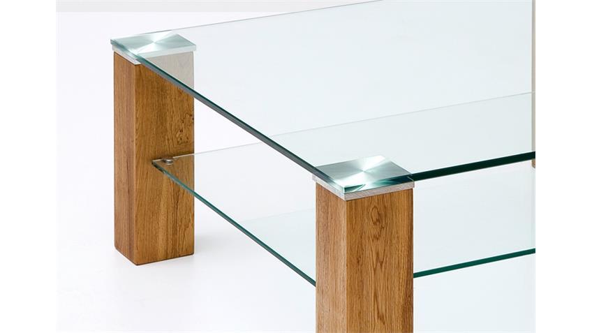 Couchtisch ALMA Klarglas Asteiche Massivholz 90x90 cm