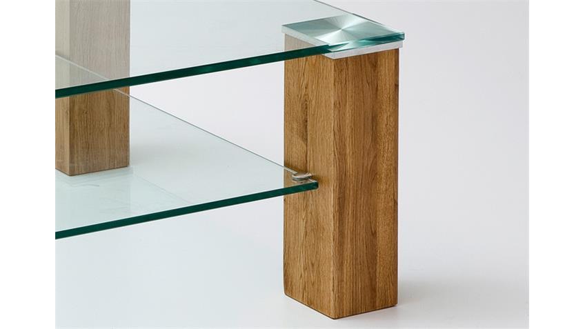 Couchtisch ALMA Klarglas Asteiche Massivholz 110x70 cm