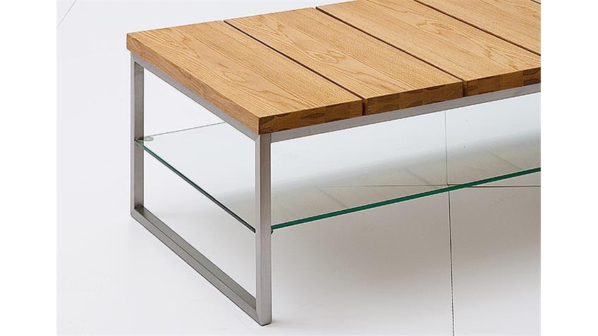Couchtisch NORGE Asteiche Massivholz Klarglas 100x60 cm