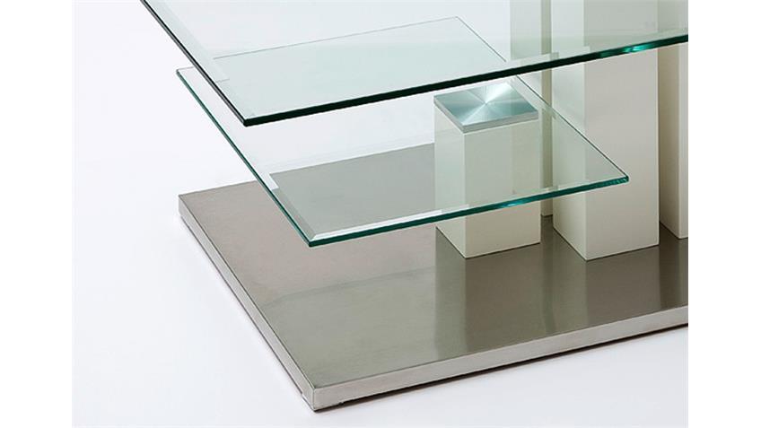 Couchtisch INES MDF weiß Hochglanz lackiert Klarglas 110x70
