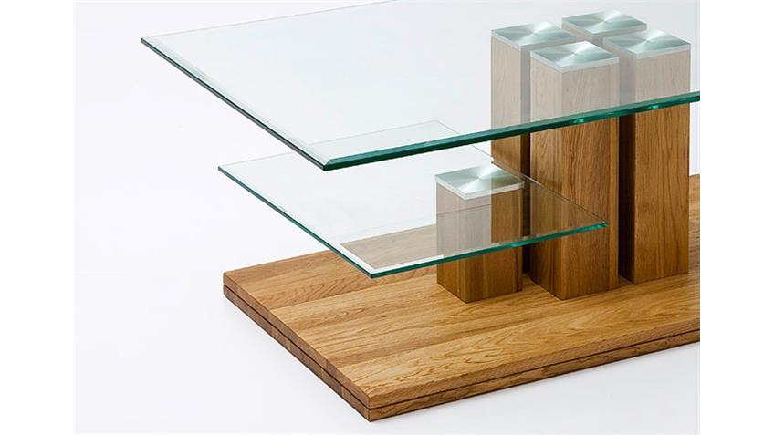 Couchtisch VILMA Asteiche Massivholz Klarglas 110x70 cm