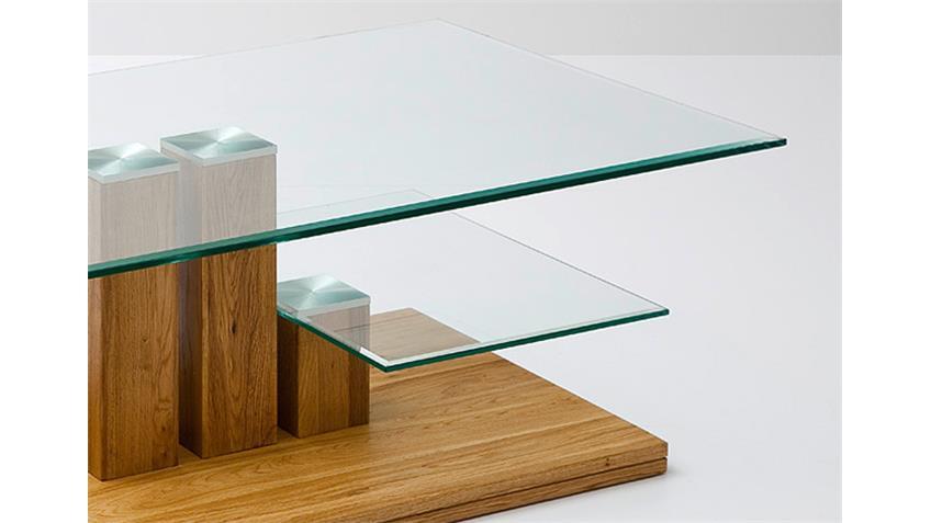 Couchtisch PACO Asteiche Massivholz Klarglas 110x70 cm