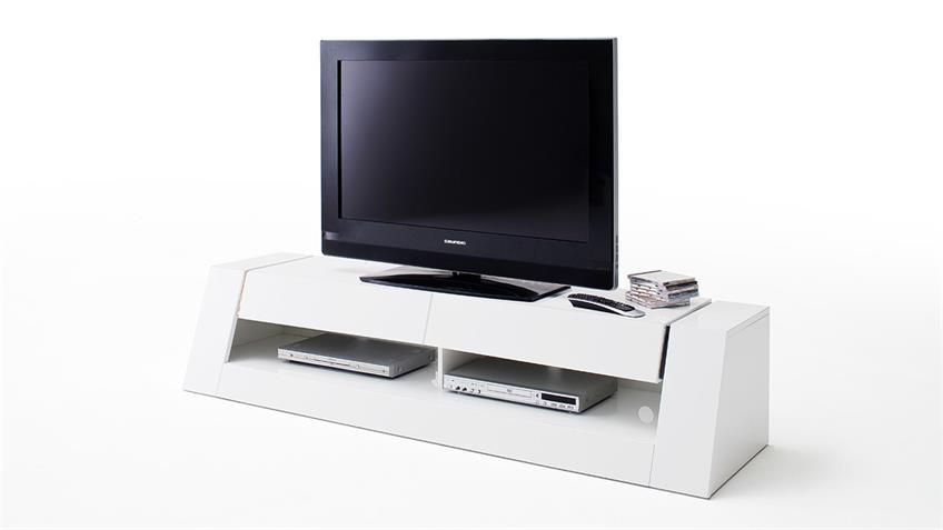 TV-Board FRONT 1 MDF weiß Hochglanz lackiert 2 Schubkästen