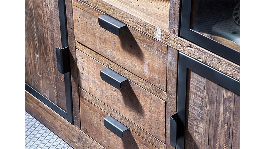 Sideboard 2 FINCA Anrichte recycle Kiefer antik braun Lack