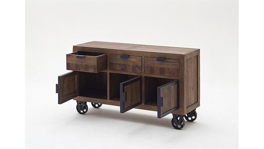 Sideboard 3 FINCA Anrichte recycle Kiefer antik braun Lack