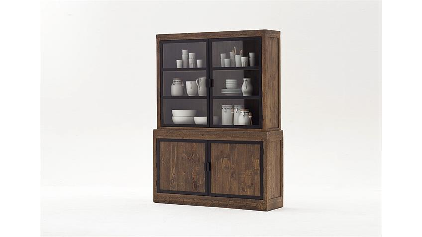Buffet FINCA Vitrine recycle Kiefer in antik braun Lack