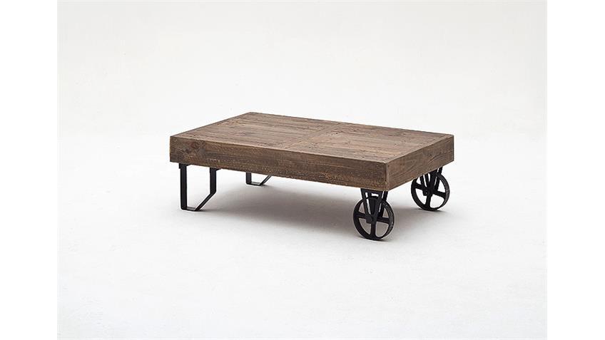 Couchtisch FINCA recycle Kiefer antik braun Lack mit Rollen