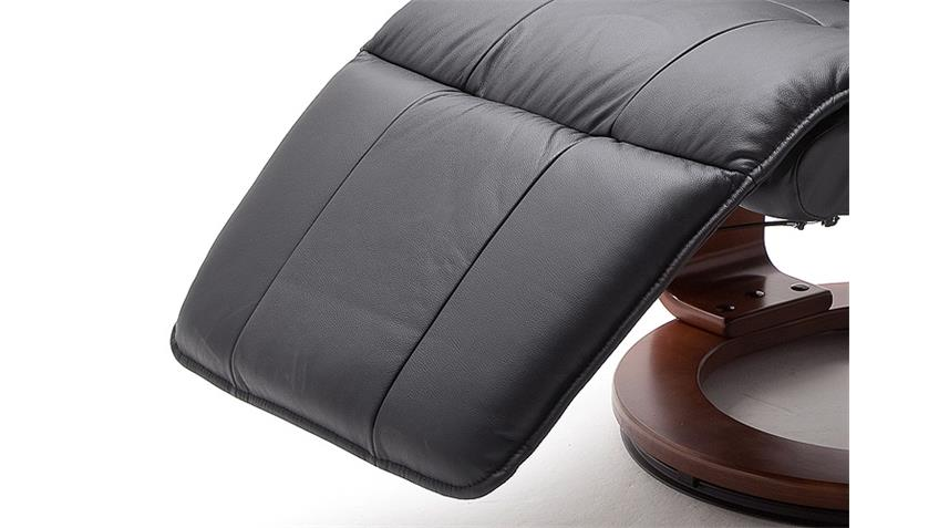 Relaxsessel CALGARY 2 Echtleder schwarz Gestell Walnuss