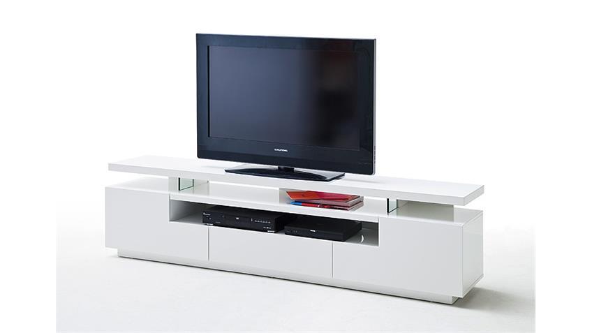 TV Board EVELINA MDF weiß Hochglanz lackiert inkl. LED