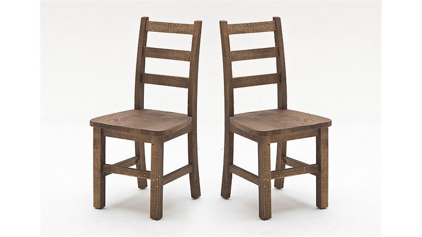 Stuhl 2er Set FINCA in recycle Kiefer antik braun lackiert