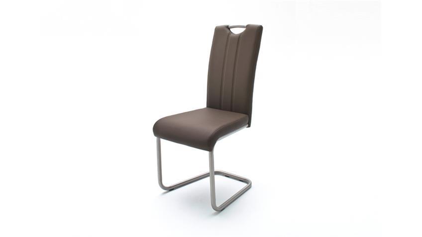 Schwingstuhl 4er Set Marie Stuhl in braun und  Edelstahl