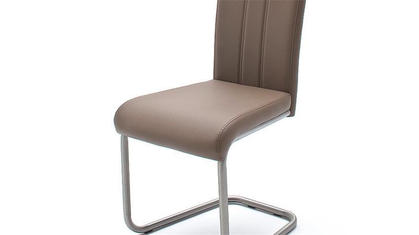 Schwingstuhl MARIE 4er Set Stuhl cappuccino und Edelstahl