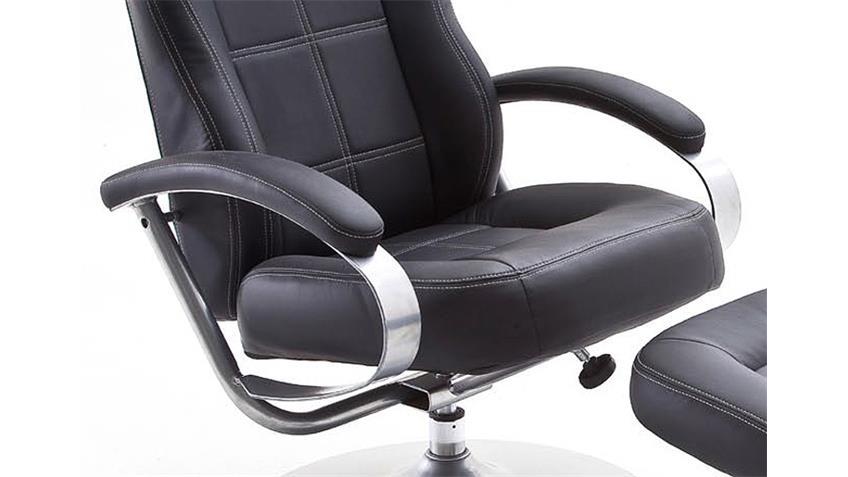 Relaxsessel NOA in schwarz Gestell Metall verchromt