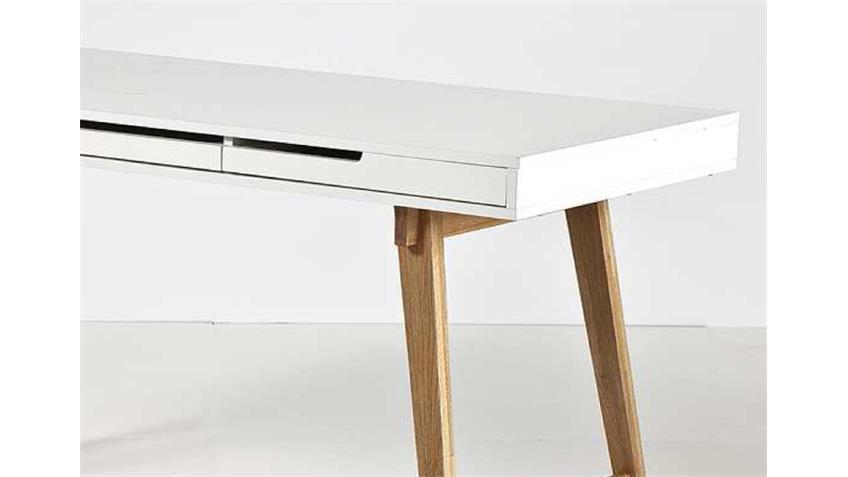 Schreibtisch ANNEKE weiß matt lackiert Massivholz natur