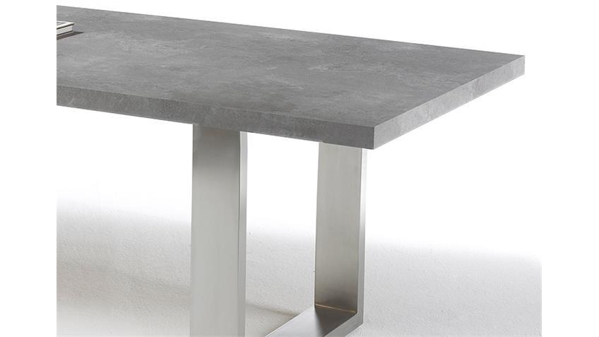 Esstisch STONE in grau versiegelt Betonoptik Edelstahl 180