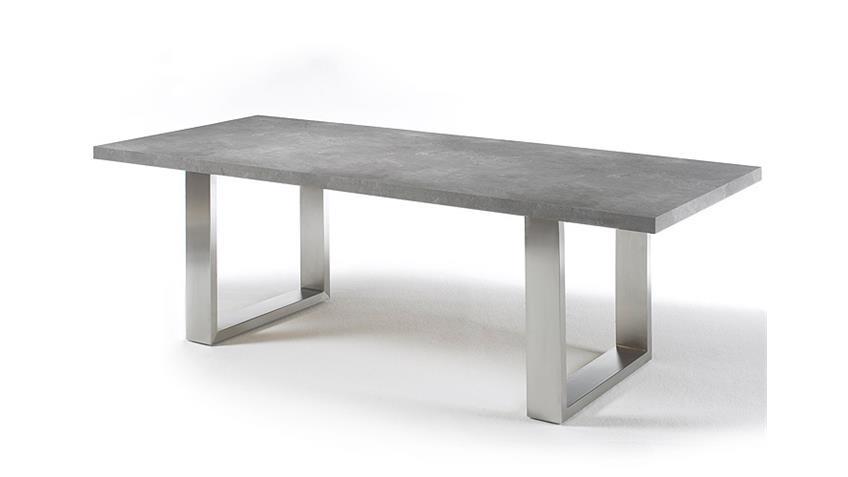 Esstisch STONE in grau versiegelt Betonoptik Edelstahl 220