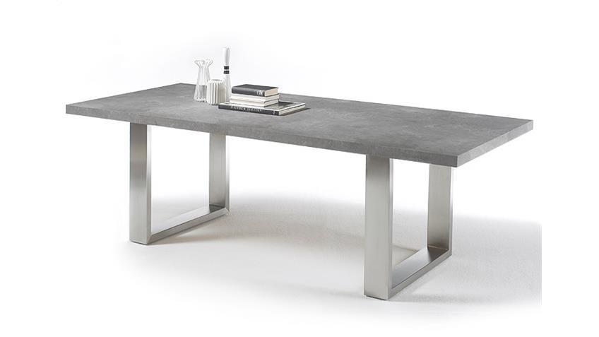 Esstisch STONE in grau versiegelt Betonoptik Edelstahl 260