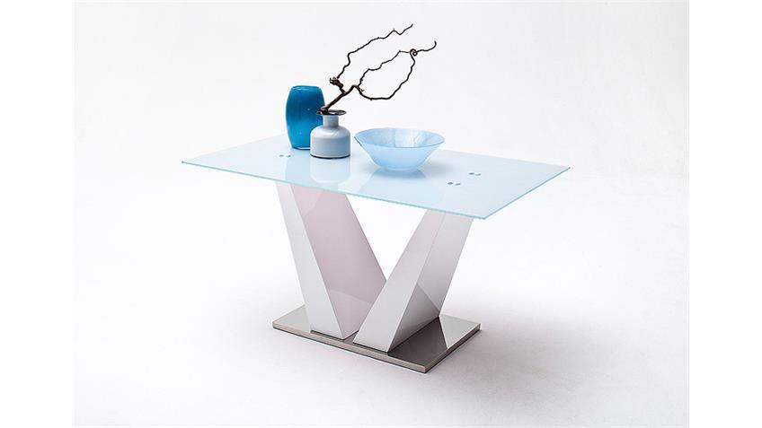 Esstisch FRANJO Tisch in weiß Hochglanz Lack und Glas 150